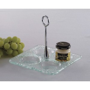 "6"" Square Jelly Jar Dish, Glass Base with Chrome Plated Handle (Top of Dish 3/4"" H, Top of Handle 5 3/4"" H)"