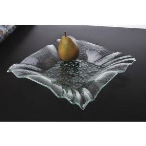 "12"" Jade Glass Square Bowl w/ Folded Corners"