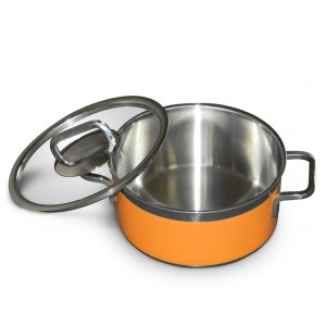 Stew pan including glass lid,  round,  orange,  3.1Ltr