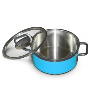 Stew pan including glass lid,  round,  blue,  1.6Ltr