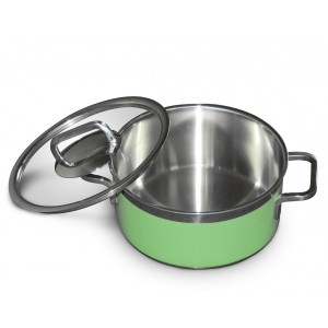 Stew pan including glass lid,  round,  green,  5.4Ltr