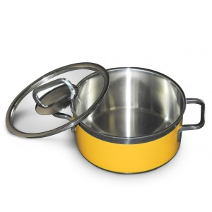 Stew pan including glass lid,  round,  yellow,  1.6Ltr