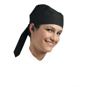 Chef Uniform Skull Cap (Tie At Back) Black