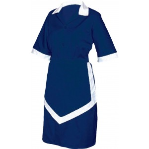 Ladies Housekeeping 3 Piece Navy Blue And White