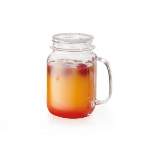 "16 oz. (16.55 oz. Rim-Full), 3.25"" (3.5"" w/Handle) Mason Jar, 5"" Tall"