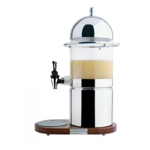 Refrigerated fruit-juice dispenser with extractable plexy container. Wood base. H cm 57 - L cm 38x22 - Lt 6