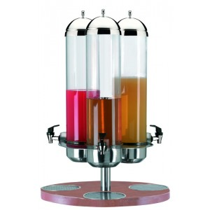 Turning refrigerated fruit juice dispenser. Stainless steel structure and wood base. H cm 76 - Ø cm 55 - Lt 5+5+5