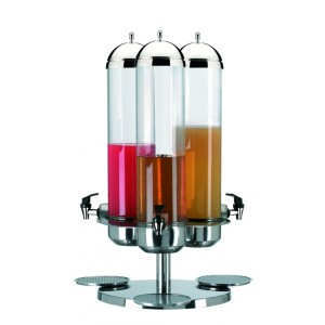 Turning refrigerated fruit juice dispenser. Stainless steel structure and base. H cm 76 - Ø cm 52 - Lt 5+5+5