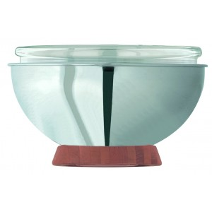 Refrigerated yoghurt holder with glass bowl (Ø cm 28) and wood support.