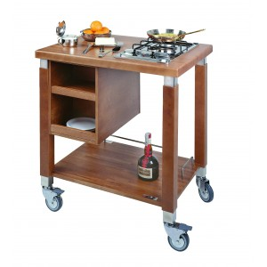 Trolley arranged for cooking hob; Cooking hob not included.