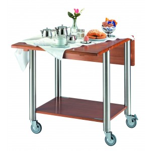 Room and restaurant service trolley, with two reclining surfaces.