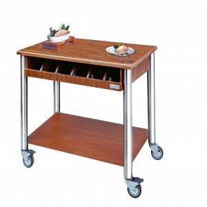 Gueridon trolley with cutlery holder. Solid Wood. Stainless Steel. Solid Wood Legs.