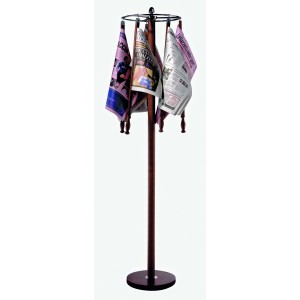 Turning newspapers stand in wood and stainless steel. Wood newspaper supports not included.