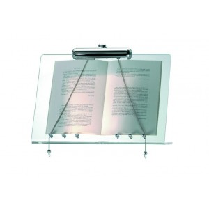 Plexy wall menu stand with lamp.