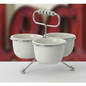 Chrome Condiment Stand w/ 3 16 oz. Bowls (fits CD-2004)