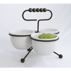 Black Condiment Stand w/ 3 16 oz. Bowls (fits CD-2004)