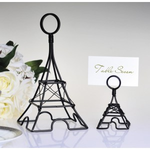 "Small Black Eiffel Tower Card Holder, 3.5"" Tall"