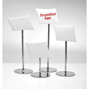 "Chrome Stand w/ Ceramic Sign, 12.5"" Tall"