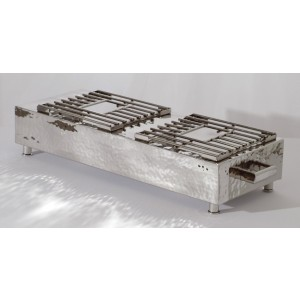 Pounded Stainless Steel Double Burner Cover