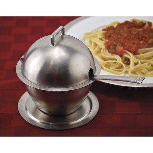 "10 oz., Stainless Steel Hinged Covered Bowl w/ Brushed Finish, 4.5"" dia., 5"" tall"