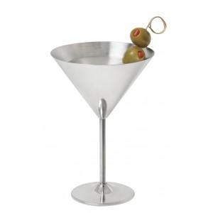 "12 oz. (12.85 oz. rim-full), 4.92"" Stainless Steel Martini, 7.15"" tall - 12 pieces/cs."