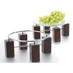 "Set of Wood Risers w/ Chrome Rings, 5"" tall and 8"" tall"