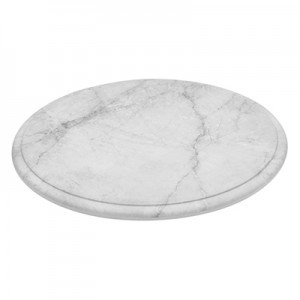 White Marble Effect Melamine Round Platter w/ SF