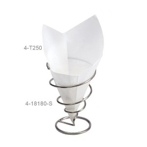 "7"" x 7"" Food-Safe Double-Open Bag / Wire Cone Basket Liner / Deli Wrap, White, 250 pieces./cs."