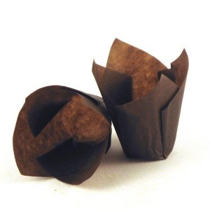 "4"" x 4"" Food-Safe Tulip Inserts, Brown, 1000 pieces./cs."