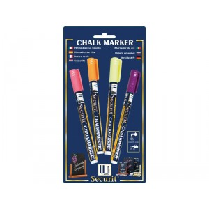 Securit Liquid chalkmarker tropical set of 4 - small 1-2mm Nib - Blister card  - yellow, pink, orange, Violet