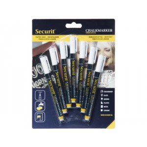 Securit Liquid chalkmarker white set of 7 - small 1-2mm Nib - Blister card