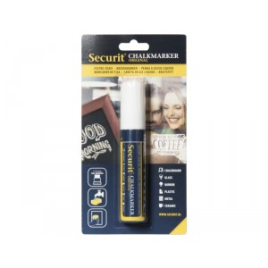 Securit Liquid chalkmarker white - large 7-15mm Nib - Blister card
