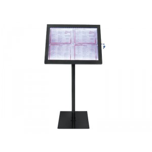 Securit LED information display set - white LEDs - black + Base + Post - displays 4xA4 pages