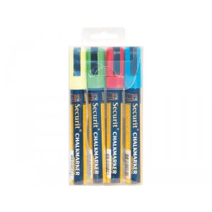 Securit Liquid chalkmarker coloured set of 4 - medium 2-6mm Nib - Wallet  - blue, red, green, white
