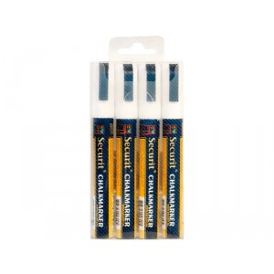 Securit Liquid chalkmarker white set of 4 - medium 2-6mm Nib - Wallet