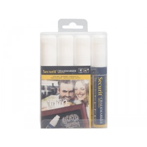 Securit Liquid chalkmarker white set of 4 - large 7-15mm Nib - Wallet