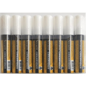 Securit Liquid chalkmarker white set of 8 - large 7-15mm Nib - Wallet