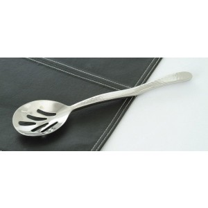 """10"""" Stainless Steel Slotted Serving Spoon w/ Pounded Finish"""