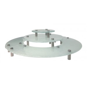 Frosted Glass Round Risers, Three levels, Stainless Steel Legs