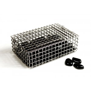 Black Ceramic Rocks w/ Stainless Steel Basket