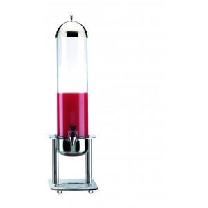 Refrigerated fruit juice dispenser. Stainless steel structure and base. H cm 78 - L cm 18x30 - Lt 5