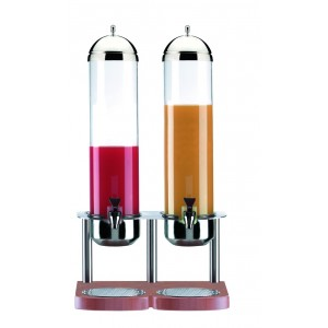 Refrigerated fruit juice dispenser. Stainless steel structure and wood base. H cm 78 - L cm 36x30 - Lt 5+5