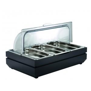 Refrigerated basin for yoghurt.