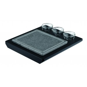 Hot stone for table with three glass bowls. Wooden base included.