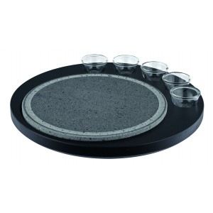 Hot stone for table with five glass bowls. Wooden base included.