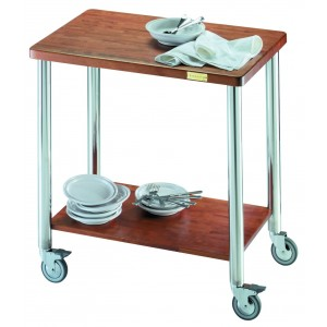 Standard gueridon trolley. Solid Wood. Stainless Steel. Solid Wood Legs.