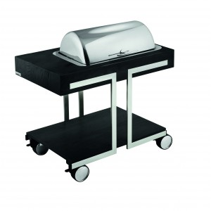 Warming trolley with two chafing dishes in stainless steel and electrical resistances with adjustable thermostats; roll-top covers.