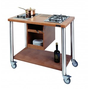 Trolley arranged for 2 cooking hob; Cooking hobs not included.