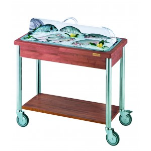 Refrigerated fish trolley, plexy and stainless steel roll top.