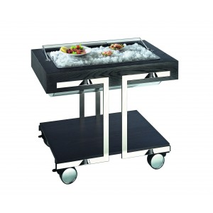 Refrigerated fish trolley, plexy roll-top.